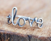 Love Ring. Sterling Silver. Wire Jewelry.