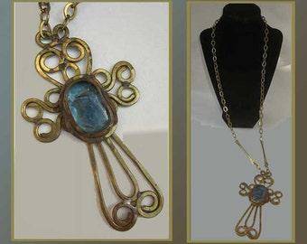 Huge RAFAEL Alfandary Brutalist Cross Pendant on Long Long Chain,1970s Modernist Necklace,Brasss and Murano Glass,Vintage Jewelry,Unisex