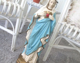 Vintage Madonna Virgin Mary Statue * Chalkware Plaster * Sacred Heart * LARGE