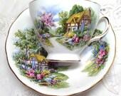 Vintage Royal Vale Country Cottage Teacup -Tea Cup - Pink Blue Floral Flowers - Bone China -  Ridgway Potteries Ltd. -  No. 7382 -  England