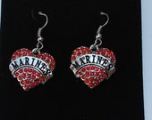 Earrings Silver plated Marines Heart Red Crystal Pendant charm military
