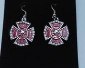 Earrings Silver plated Firefighter Maltese Cross Shield Crystal Pendant charm