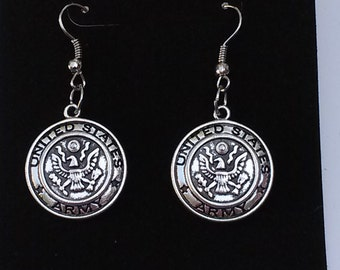 Earrings Silver plated Army vintage Metal Pendant charm military