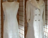 60s white brocade sheath dress and matching double breasted fur trimmed coat womens size medium