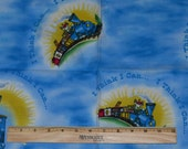 TRAIN FABRIC REMNANT! Little Engine That Could / For Appliques - Clothing Accents