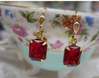 Small Ruby Earrings ~ Red Dangle Earrings ~ Vintage Glass Earrings ~  Minimalist