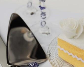 Lavender wedding cake server set toasting flutes cake knife champagne glasses Swarovski crystal table decor bridal shower party cutter