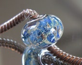 """RESERVED FOR ALEXANDRA Tangled Sky Glass """"Fission"""" #8 Fully Sterling Silver Lined Lampwork Charm Bead BhB"""