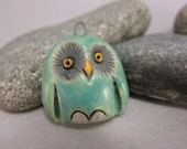 Matte Blue Owl...Raku Pendant