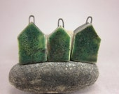 Less Is More...Minimalist House Pendant / Focal Bead / Ornament...Set of 3...Mossy Green