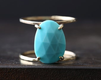 Rose Cut Turquoise Cage Ring
