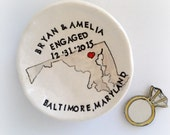 Personalized engagement gift ring holder custom state map for couples handmade pottery by Cathie Carlson