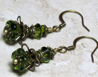 Green Peridot Glass Beaded Dangle Earrings, Crystal Earrings, Czech Glass Earrings, Boho Earrings, August Birthstone, Unique Earrings