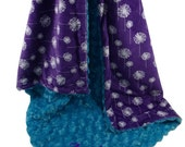 ON SALE Teal Rose Swirl and Purple Dandelion Minky Baby Blanket, Teal and Purple Minky Blanket, available in three sizes can be Peronalized