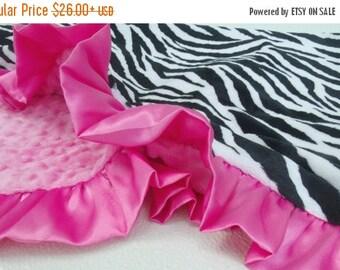 ON SALE Pink Zebra Minky Blanket - Minky Baby Blanket