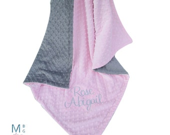 Light Pink and Gray Minky Dot Baby Blanket - Pink and Gray Minky Dot Blanket Can Be Personalized