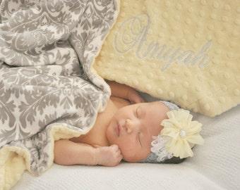 Light Yellow Minky Dot and Gray Damask Minky Baby Blanket, Gender Neutral Baby Blanket