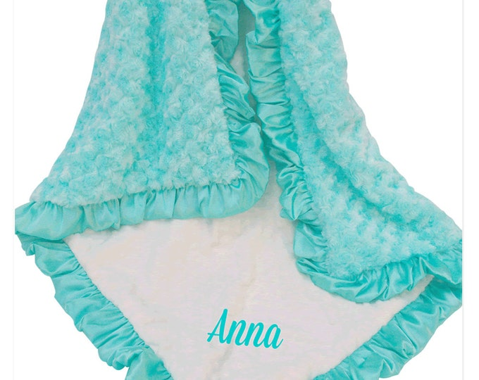 Robin's Egg Blue and Cream Minky Baby Blanket, Pool Green Minky Baby Blanket, Saltwater Minky Baby Blanket