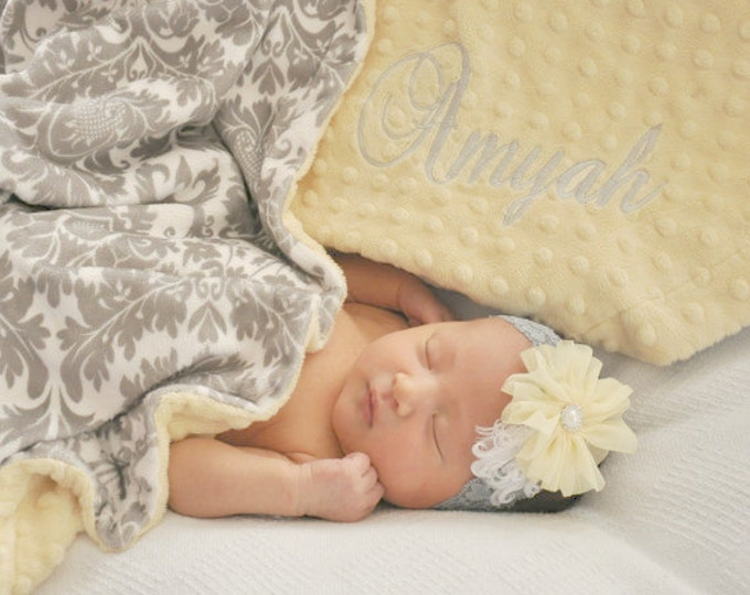Light Yellow Minky Dot and Gray Damask Minky Baby Blanket, Gender Neutral Baby Blanket Can Be Personalized