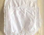 Vintage Half Apron with Crochet All White Pure White