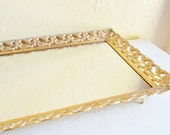 Rectangular Gold and White Metal Filigree Framed Mirror Vanity Tray