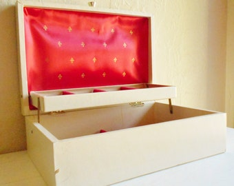 Vintage Cream and Gold Jewelry Box with Ruby Red Interior