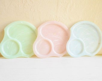 Set of 3 Three Vintage Pastel Plates with Cup Holders Cute Luncheon Pink Green Blue