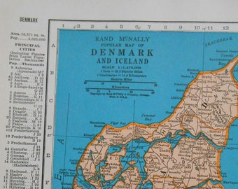 Vintage map of Denmark, 1937 Antique Map, Iceland
