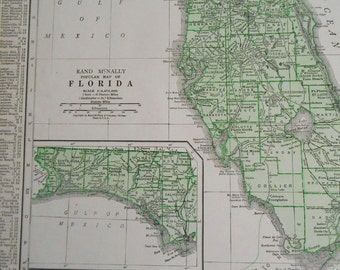 Florida Vintage map, 1937 US state map, Antique Green Map of Florida