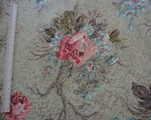 PRICE REDUCED Vintage 1940s or 1950s Light Green Floral Barkcloth Roses