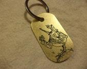 Wizards inspired etched brass keychain