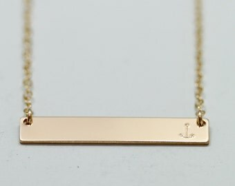 Anchor necklace - anchor jewelry - dainty gold necklace - gold bar necklace - nautical jewelry - nautical necklace - minimalist delicate