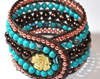 Beaded Leather Wrap Bracelet, Artisan Boho Wrap Cuff Bracelet, Wrap Beaded Bracelet, turquoise, brown and pink czech pearls beads 5 Row