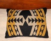 Wool Decorative Pillow 19 x 15 Black with Yellow and White Geometrics Southwestern Handcrafted Using Fabric from Pendleton Woolen Mill
