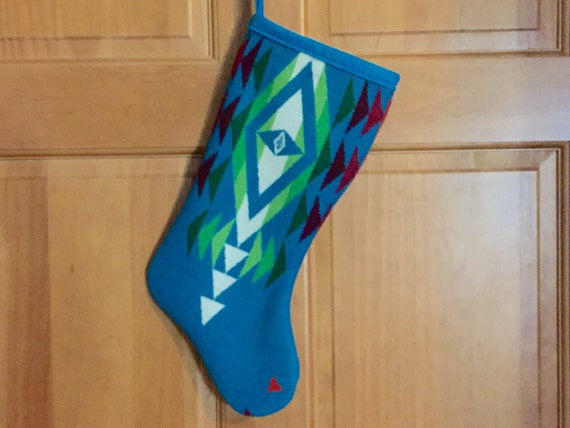 Christmas Stocking XL Wool Turquoise & Green