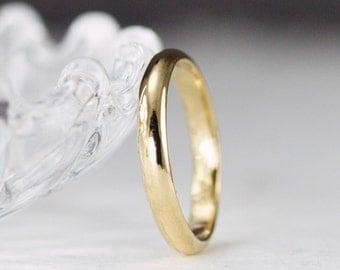18K Gold Wedding Ring 3mm x 1.5mm  - Half Round Classic Yellow Gold Band