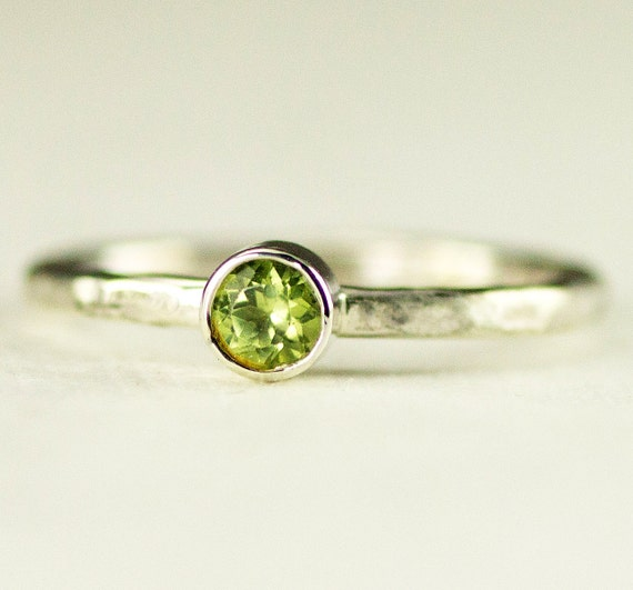 Peridot Stack Ring - Sterling August Birthstone Ring  - 6mm,5mm or 4mm - Custom Band Choices