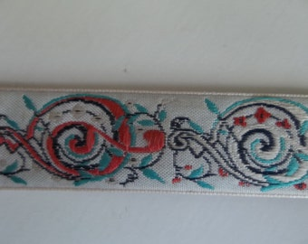 Celtic Knot Celtic Swirl Jacquard Ribbon Trim Teal Ribbon Red Trim White Black Woven Trim Knotwork Embroidered Trim 4 Yards