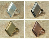 10 pcs 25mm Square Ring Trays Adjustable with 10 Glass Square Cabs Pick from Shiny Silver, Bronze, Copper and Gunmetal,  Cabochon Setting