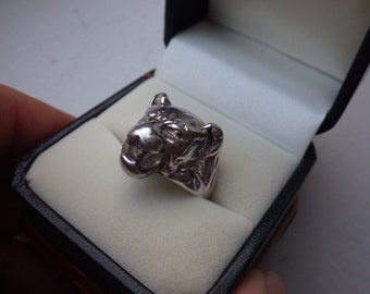 Rare 1960s Panther/Lioness Sterling Silver Ring - Crystal Accents - Silverman and Co - Size 6.75