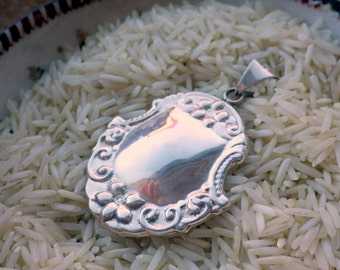 Large Sterling Silver Pendant - Scroll Work