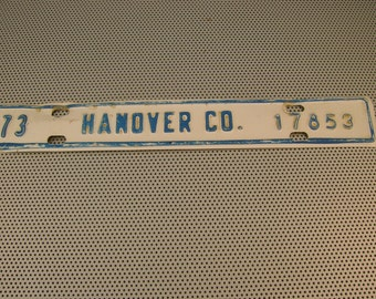 Vintage 1973 Hanover County Virginia License Tag Plate Topper - 17853 Blue White