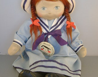 "Vintage Collectible 1980s Lloyderson ""Sweet Cheeks"" Cloth Doll, Red Hair, Pigtails, Wearing Sailor Suit and Hat, with Original Tags"