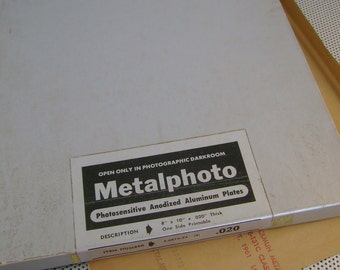 Vintage Metalphoto Photosensitive Anodized Aluminum Sheet Plate, 8x10 Inches, .020 Thick with Box