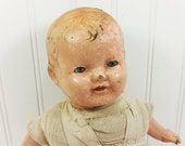 Antique Composition Baby Doll with Handmade Linen Body, Creepy Chippy Doll Halloween Prop