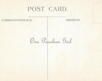 Vintage Postcard Back, Vintage Postcard Download High Resolution JPG, Instant Download