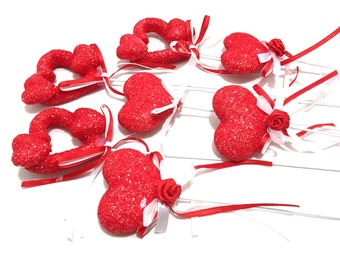 Valentine's Day Heart Picks, Heart Plant Picks, Valentine's Plant, Valentine's Day Supplies, Styrofoam Heart, Red Valentine Heart Decoration