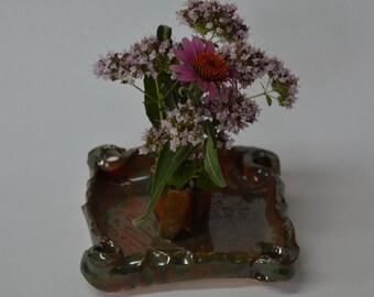 Glossy Green and Brown Tray Ikebana / Frog Vase