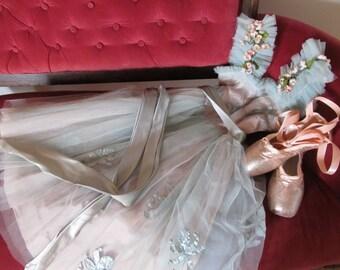 DANUSHAROSE Vintage 1950s1960s Serene French Blue Blush Pink Ballerina Costume Peachy European Glittered Pointe Toe Shoes OOAK Flower Girl