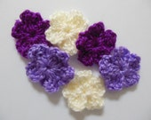 Crocheted Flowers  - Cream, Lilac and Magenta Forget Me Nots - Acrylic Yarn - Crocheted Embellishments - Crocheted Appliques